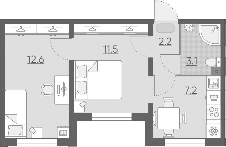 2-к.кв, 36.6 м²
