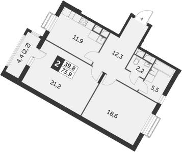 2-к.кв, 73.9 м²