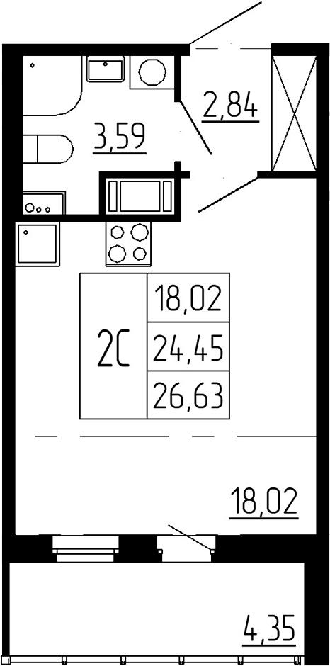 Студия, 24.45 м²– 2