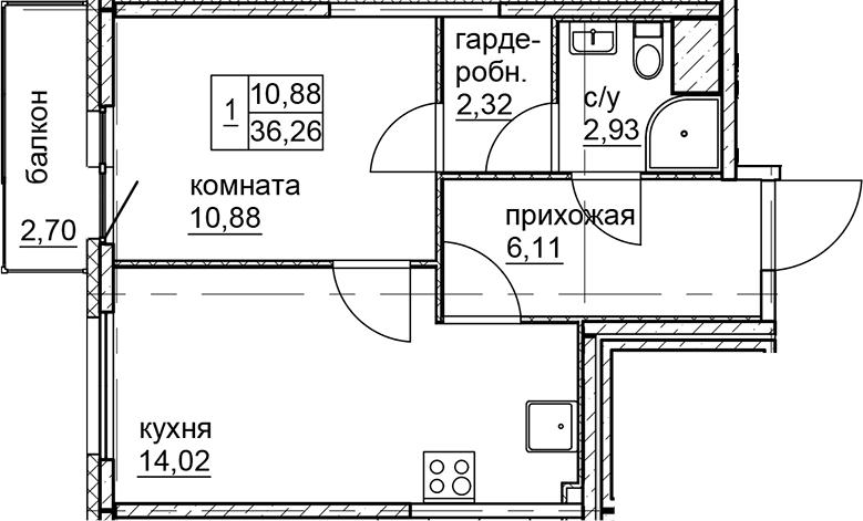 1-к.кв, 36.26 м²
