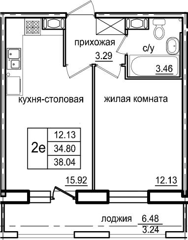 2Е-к.кв, 38.04 м², 5 этаж