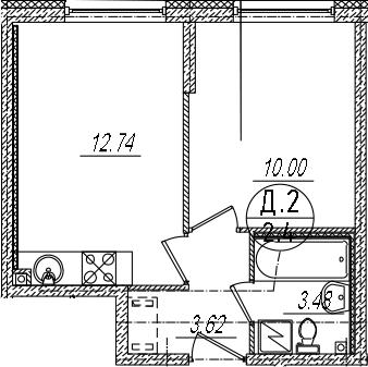 2-к.кв (евро), 29.84 м²