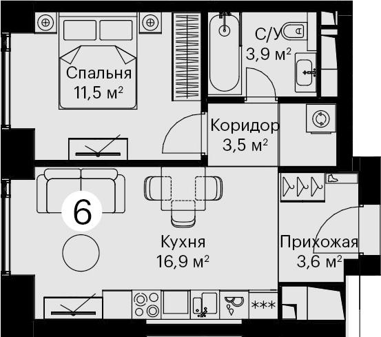 2-к.кв (евро), 39.4 м²