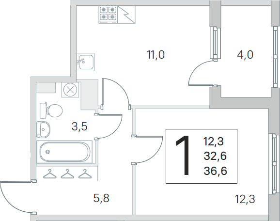 1-комнатная, 32.6 м²– 2