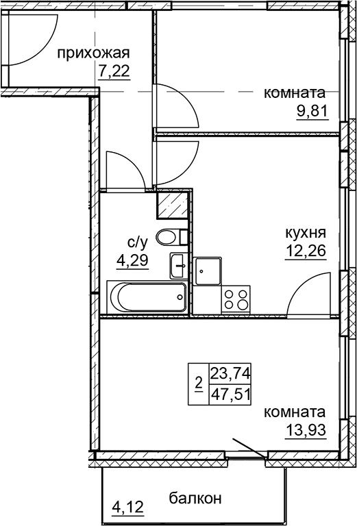 2-к.кв, 47.51 м²