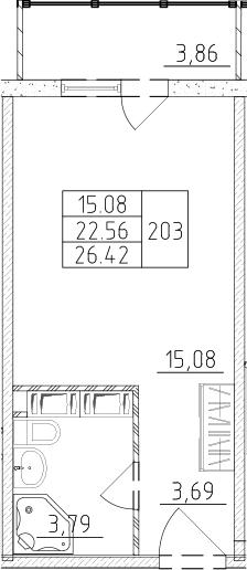 Студия, 23.72 м², 17 этаж