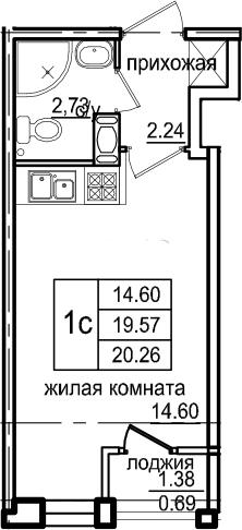 Студия, 20.26 м², 2 этаж