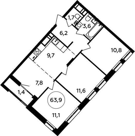 4Е-к.кв, 63.9 м², 16 этаж