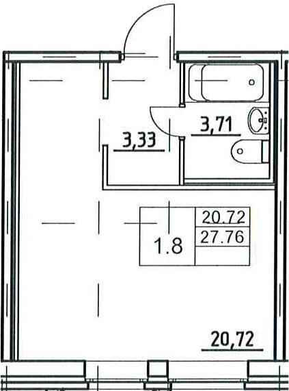 Студия, 27.76 м², 1 этаж