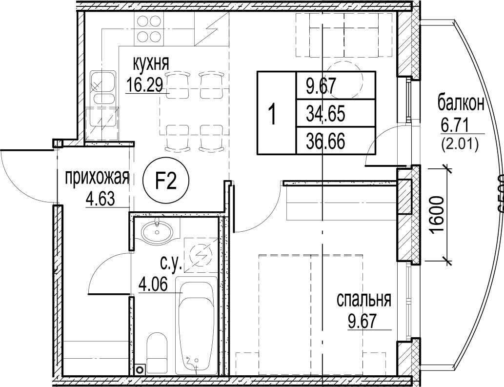 2Е-комнатная, 36.66 м²– 2