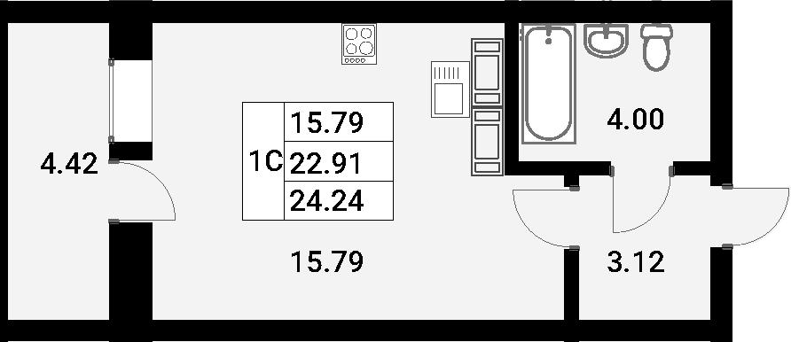 Студия, 27.33 м²