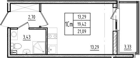 Студия, 19.42 м², 4 этаж