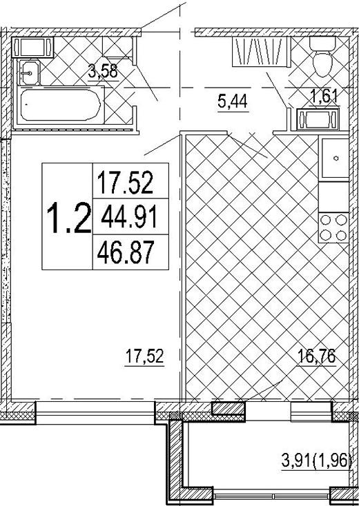 2Е-комнатная, 46.87 м²– 2