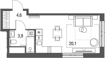 Студия, 28.6 м², 4 этаж