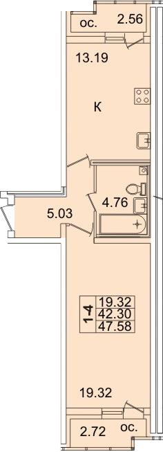 1-к.кв, 47.58 м²