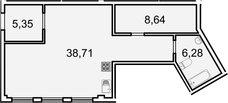 Студия, 59 м²