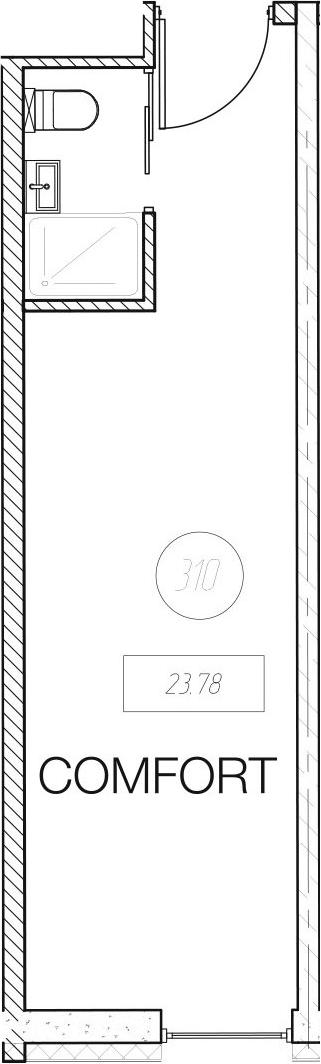 Студия, 23.78 м²