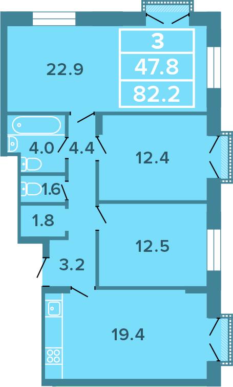 3-к.кв, 82.2 м²