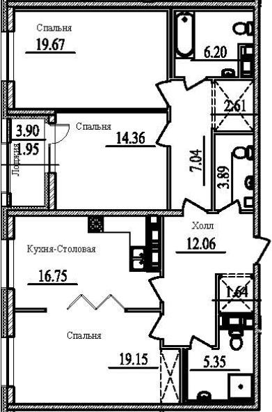 3-к.кв, 112.62 м²