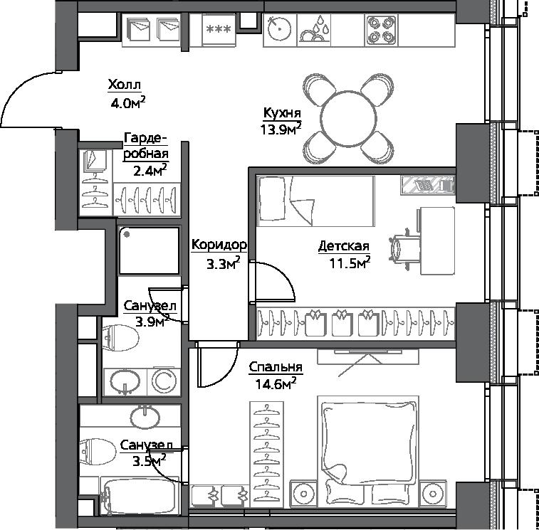2-комнатная, 57.5 м²– 2