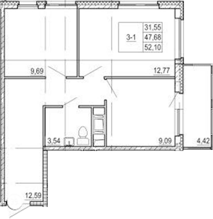 2-к.кв, 52.1 м²