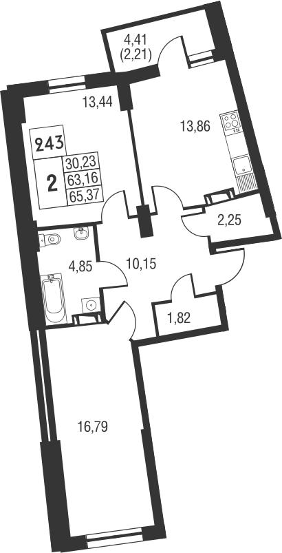 2-комнатная, 65.37 м²– 2