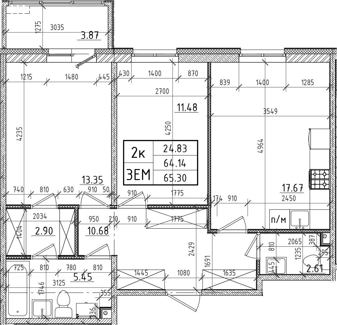 3Е-к.кв, 64.14 м²