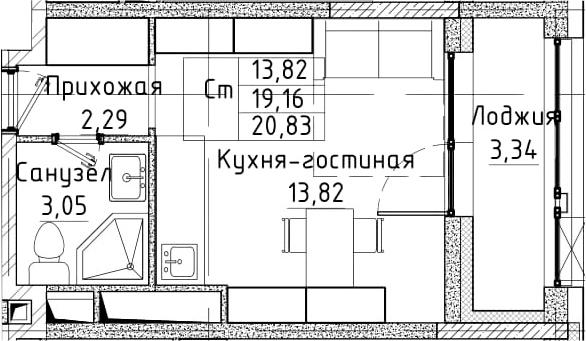 Студия, 20.83 м²