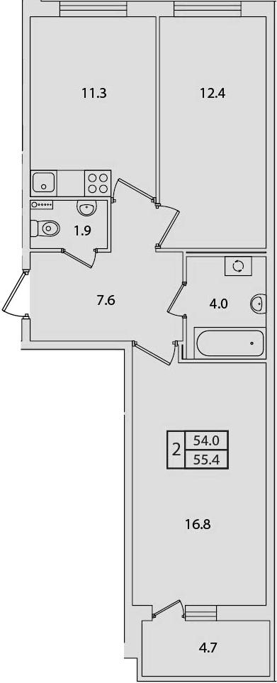 2-к.кв, 58.67 м²