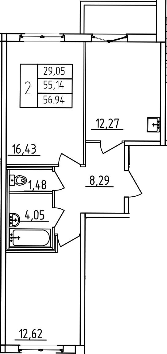 2-к.кв, 61.14 м²