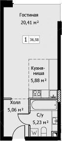 Студия, 36.58 м²– 2
