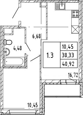 2Е-комнатная, 38.33 м²– 2