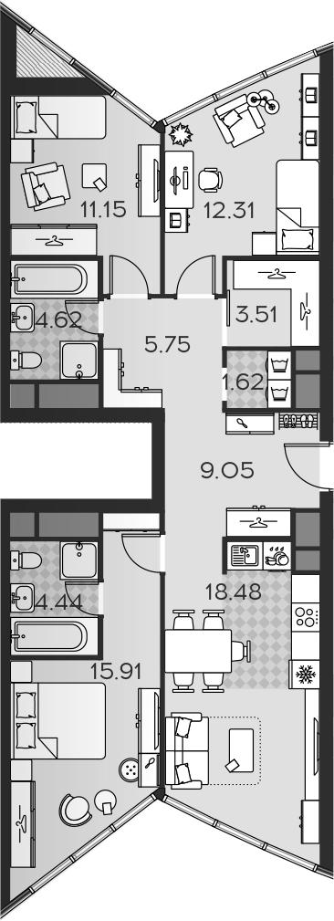 4Е-комнатная, 86.84 м²– 2