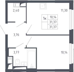 1-к.кв, 31.37 м², 13 этаж