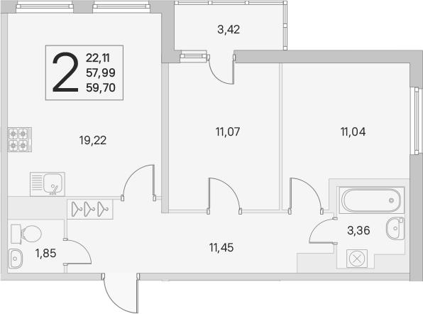 3Е-к.кв, 57.99 м², 2 этаж