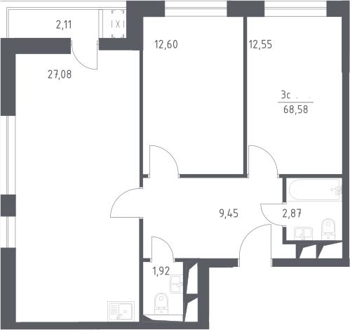 3Е-комнатная, 68.58 м²– 2