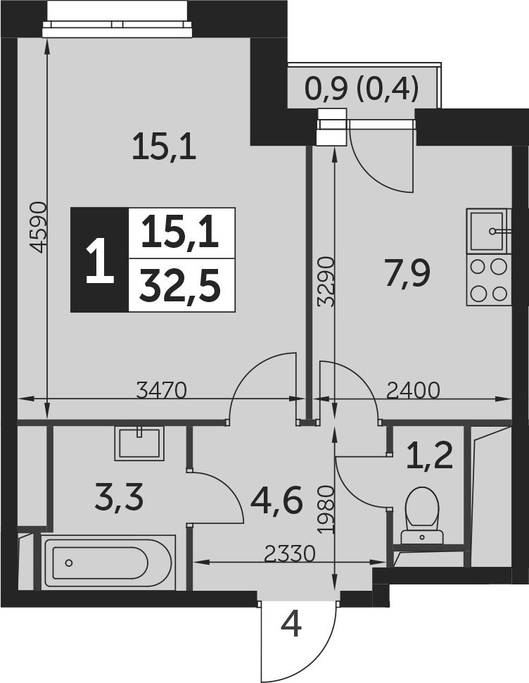 1-к.кв, 32.9 м²