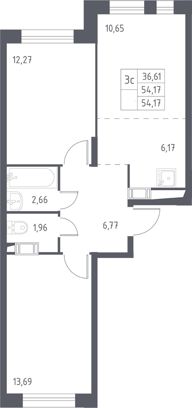 2-комнатная, 54.17 м²– 2