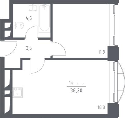 1-к.кв, 38.2 м²