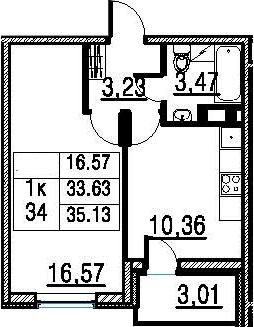 1-к.кв, 35.13 м², от 11 этажа