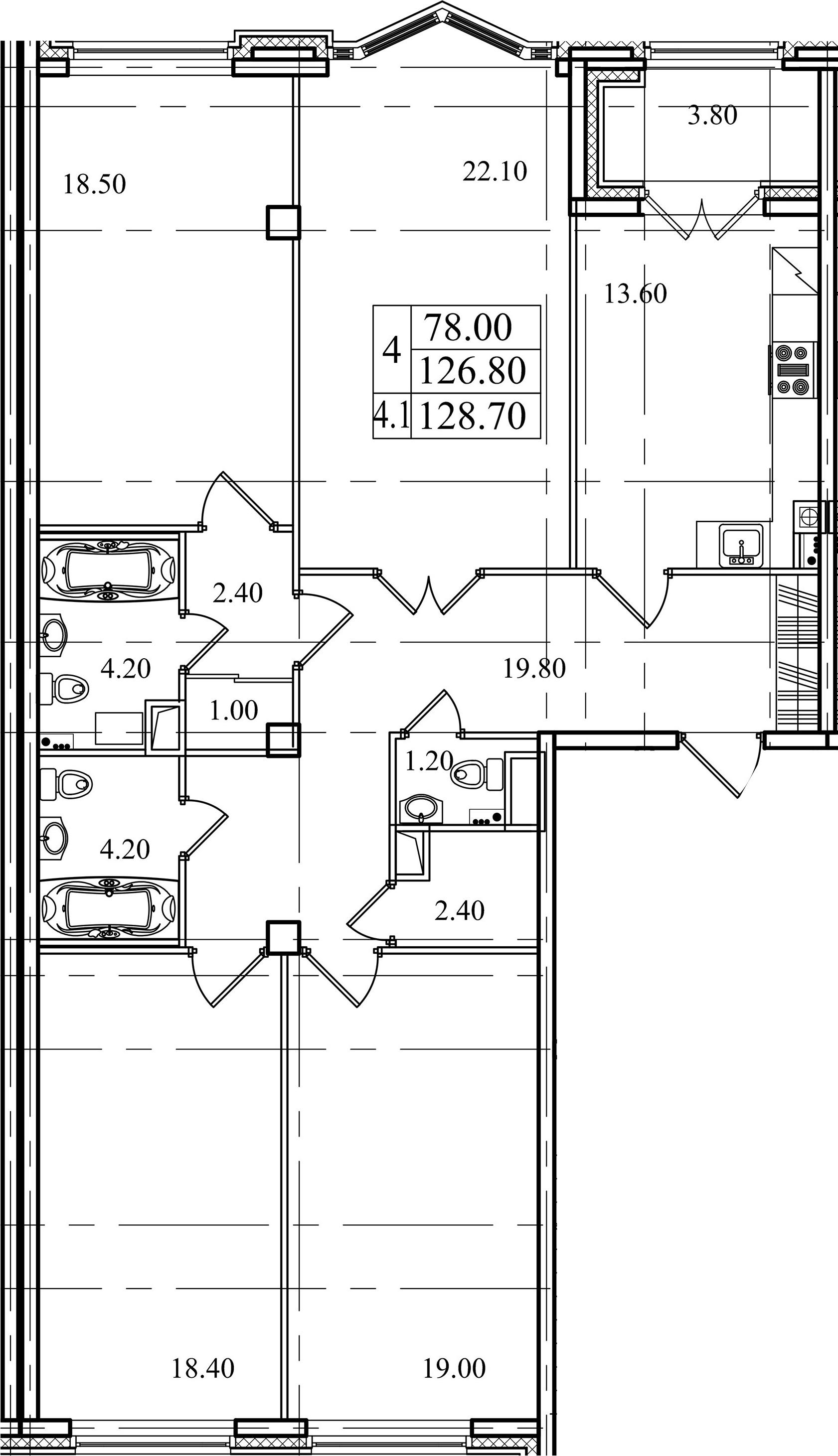 4-комнатная, 126.8 м²– 2