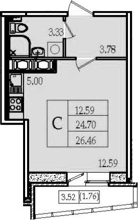 Студия, 26.46 м²