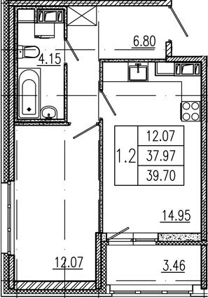 1-к.кв, 41.43 м²