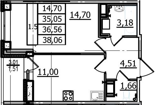 1-к.кв, 35.05 м²