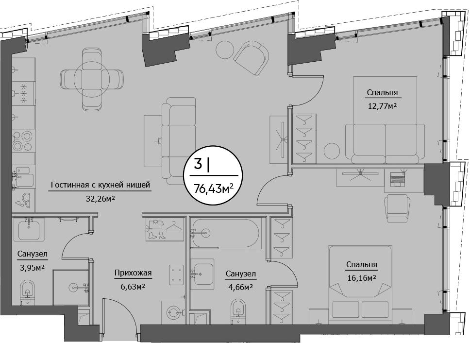 3Е-к.кв, 76.43 м²