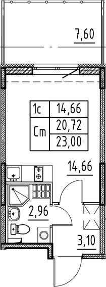 Студия, 20.72 м²– 2