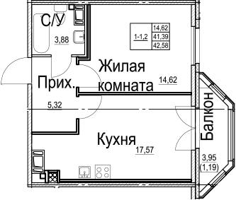 2-к.кв (евро), 45.36 м²