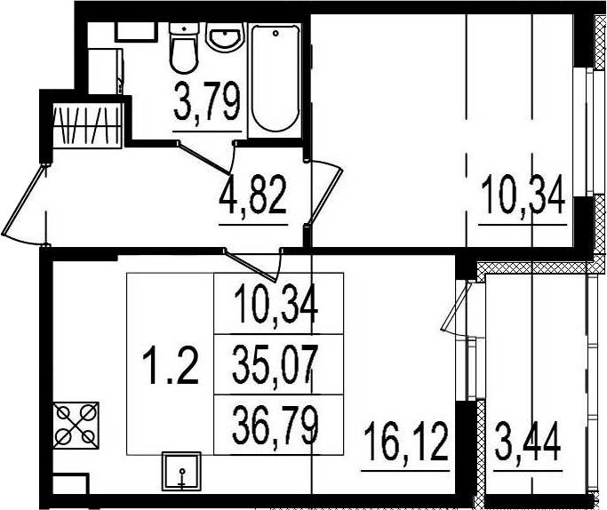 2Е-комнатная, 35.07 м²– 2