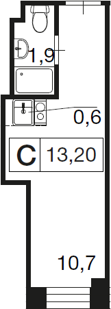 Студия, 13.2 м²– 2