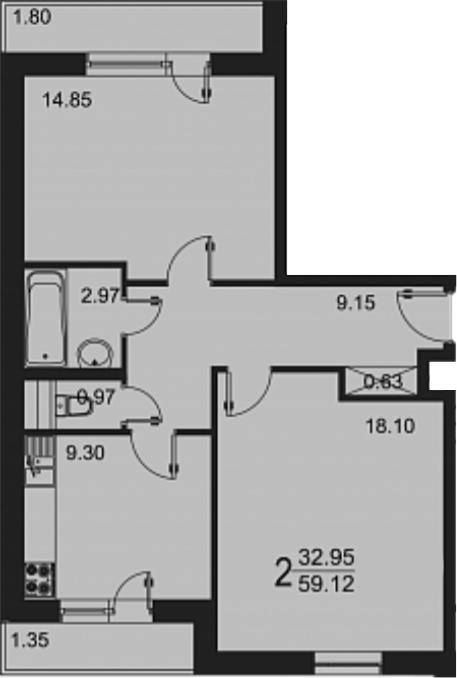 2-к.кв, 59.12 м²